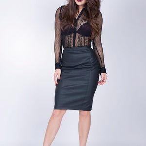 Express Black faux leather skirt worn for shoot